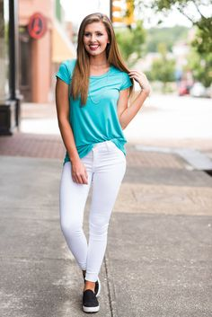 """She's So Lucky Tee, Aqua""You are so lucky if you manage to snag one of these tees! #newarrival #shopthemint"