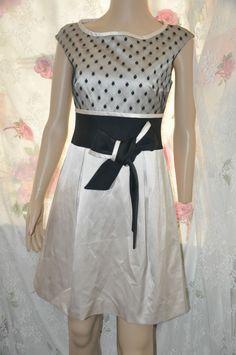 5248faa28d Karen Millen Spot Lace mix Bow Waist Evening Dress UK 10- EU 38 - US 6 rrp  £267