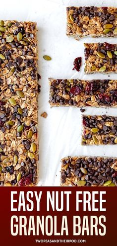 Nut Free Granola Bars-easy homemade granola bars that are nut free, which makes them the perfect school snack and great for anyone with nut allergies. The bars are chewy, sweet, and SO delicious! Delicious Breakfast Recipes, Yummy Snacks, Snack Recipes, No Bake Granola Bars, Homemade Granola Bars, Nut Allergies, Gluten Free Oats, Nut Free, Breakfast Ideas