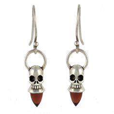 Voodoo Skull Earrings - Silver & Garnet - Witch doctors enchant their jewelry and items to protect them from evil spirits.