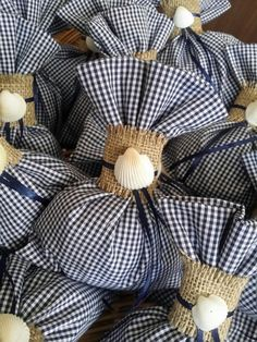 Seashells, burlap and the navy blue make a beautiful combination for summer events. These elegant favor bags will decorate Andrew's Baptism beach party in Santorini island Greece! Baptism Party Favors, Christening Favors, Baptism Invitations, Wedding Favors, Greek Wedding Traditions, Baby Boy Christening, Santorini Island, Santorini Greece, Summer Gifts