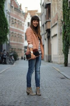 H&M Blazer, H&M Striped Top, Kipling Clutch, Ash Booties