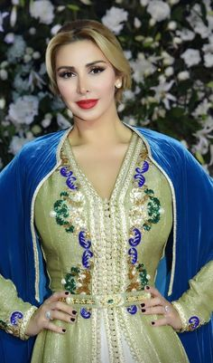 Moroccan caftan with a moroccan bleue selham by the Moroccan designer #Salma Ben Omar