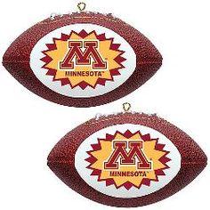 Topperscot Minnesota Golden Gophers Two Mini Replica Football Ornaments