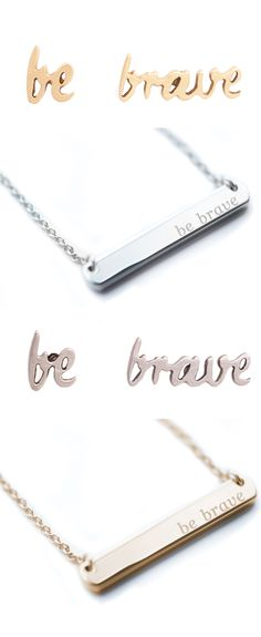 Silver and gold necklace and earring set with a beautiful message of bravery. https://courtneygrasmick.bravelets.com