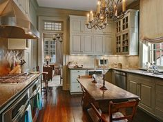 country french kitchen. Love table and floor !