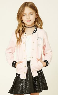 """Forever 21 Girls - A knit jacket featuring a button-front, two front slit pockets, contrast ribbed trim, A French terry lining, and a """"New York City graphic. Spring Outfits Classy, Girls Winter Outfits, Kids Outfits Girls, Cute Outfits For Kids, Teenager Outfits, Cute Summer Outfits, Girl Outfits, Summer Clothes, Fall Clothes"""