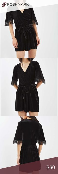 NWT TOPSHOP romper texture velvet wrap style, it comes with lace trim on arms comes with belt  93% Polyester ,7% Elastane. Machine wash Topshop Other