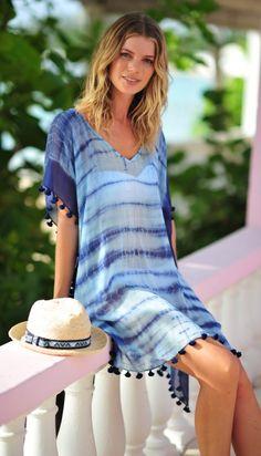 Tie-dye blue kaftan The post Seafolly & Designer Brand Bikinis, Swimsuits, Tankinis, Beachwear appeared first on Bikini Photos. Casual Dress Outfits, Casual Summer Dresses, Beach Dresses, Modest Dresses, Short Outfits, Beach Outfits, Casual Wear, Beach Kaftan, Beach Kimono