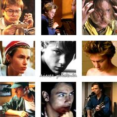 """isharayar: """" Film chameleons (1): River Phoenix My favourite one in the pole position, of course :) I know, a lot of movies missing, I've just taken some of the most different roles: genius (electronics & music), hero, adorable pizza boy, rentboy,..."""
