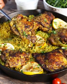 A flavorful Middle Eastern Chicken made with seasoned turmeric rice all in one pot! Fuss free this middle eastern chicken is super easy to make.A favorful middle eastern one pot dish- use tsp salt or less. Make indian rice in rice cooker. Lebanese Recipes, Indian Food Recipes, Beef Recipes, Cooking Recipes, Healthy Recipes, Arabic Chicken Recipes, Arabic Recipes, Recipies, Lebanese Cuisine