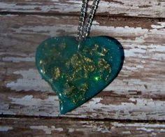 Turquois with gold flakes Necklace by bojosmom on Etsy, $25.00