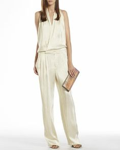 B2E8C Gucci Iridescent White Draped Jumpsuit