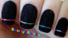 Rainbow Laser Nail Art - Black Velvet Nails - Bornprettystore ...