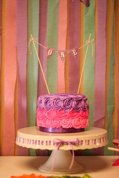 First Birthday Smash Cake, Pink and Purple Smash Cake, see more first birthday party ideas at http://www.eventcrush.com/addys-first-birthday-party/