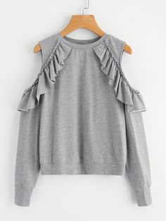 To find out about the Frilled Open Shoulder Heather Knit Sweatshirt at SHEIN, part of our latest Sweatshirts ready to shop online today! Daily Fashion, Tween Fashion, Look Fashion, Fashion Outfits, Sweat Shirt, Sweat Gris, Trendy Outfits, Cute Outfits, Mode Abaya