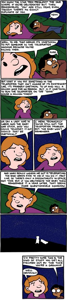 """Saturday Morning Breakfast Cereal // This is quite the quandary. Cloning yourself to be """"immortal,"""" too. You're still dead, there's just a duplicate of you running around. This has always had me wondering."""