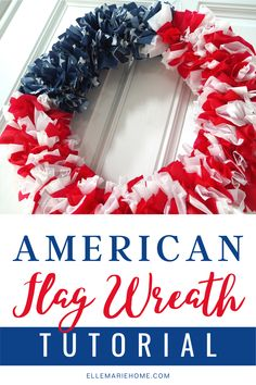 It's hard to believe, but this patriotic American Flag Wreath is made using plastic table covers! Yep, I show you how to use strips of this common party supply to transform a regular foam wreath form into the perfect July 4th decoration. Diy Crafts For Adults, Diy Crafts To Do, Holiday Crafts For Kids, July Crafts, Diy Craft Projects, Wreath Crafts, Diy Wreath, Wreaths, Patriotic Crafts