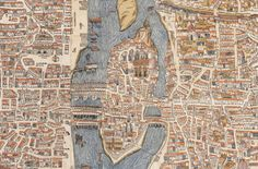 Detail of Île de la Cité, Le Marais, and Quartier latin from a map of Paris, 1550.  Note that the map is rotated so that north is to the left. You can view the entire original at Old Maps of Paris