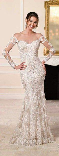 Beautiful Wedding Dresses 6595 Chic Wedding Dress with Off-the-Shoulder Sleeves by Stella York.Beautiful Wedding Dresses 6595 Chic Wedding Dress with Off-the-Shoulder Sleeves by Stella York Chic Wedding Dresses, Popular Wedding Dresses, Lace Wedding Dress, Wedding Gowns With Sleeves, Long Sleeve Wedding, Bridal Dresses, Trendy Wedding, Tulle Wedding, Prom Dresses
