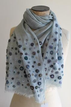 I think this scarf is linen. I like the thinness of it, which a cotton scarf could thin too. Embroidery Stitches, Embroidery Patterns, Hand Embroidery, Embroidery Scarf, Textiles, Handmade Scarves, Needle And Thread, Hand Sewing, Knit Crochet