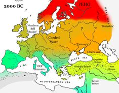 Europe/Western Eurasia 2000 BC as before but Yamnaya populations have spread across northern Europe, with some admixture of EEF farmers, and further spread of CHG type populations into Anatolia.