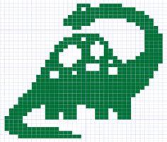 dinosaur knitting chart or filet crochet