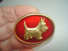Terrier  Dog Vintage Jewelry Animal  Brooch Ruby by sanibelsands
