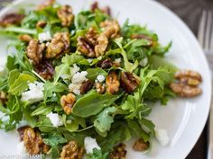 Arugula salad with thyme-toasted walnuts [Vegetarian]