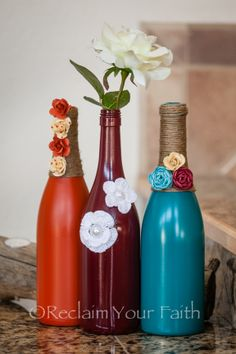 Botellas de vino decoradas  - DIY - Manualidades - Reciclaje