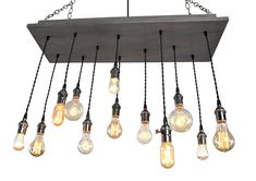 ************ NEW DESIGN ************  Industrial Chandelier - Rustic Lighting  The canopy is made from a solid piece of wood finished in