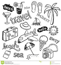 beach holiday doodle - Google Search