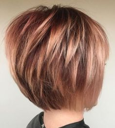 60 Best Short Bob Haircuts and Hairstyles for Women Rose Gold Bob With Choppy Layers Layered Bob Hairstyles, Bob Hairstyles For Fine Hair, Haircut For Thick Hair, Medium Hairstyles, Wedding Hairstyles, Hairstyles 2016, Bob Hair Cuts, Short Hairstyles For Thin Hair, Braided Hairstyles