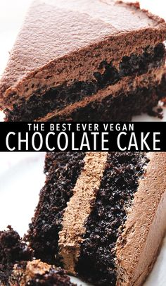 The BEST Vegan Chocolate Cake - A vegan chocolate cake with chocolate frosting made from whipped coconut oil this recipe is SO easy and delicious. Best Vegan Chocolate, Chocolate Flavors, Chocolate Desserts, Vegan Cupcakes, Vegan Cake, Vegan Sweets, Vegan Desserts, Whipped Chocolate Frosting, Chocolate Cake With Coffee