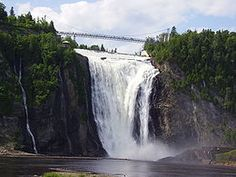 The Montmorency Falls is a large and beautiful waterfall located on the Montmorency River in Quebec, Canada. The Falls height is 275 foot high and about 30 mete Vacation Trips, Vacation Spots, Vacation Ideas, Chute Montmorency, Cascade Water, Famous Waterfalls, Francis I, Largest Waterfall, Iguazu Falls