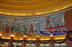 Mural Work: Murals are a common component of the interior of many Art Deco buildings. The themes typically depict he machine age and advances in technology or the progress in history of the specific city or other location where they are located. Sometimes, the murals combine both themes, as with Winold Reiss' famous mosaic murals at Cincinnati's Union Terminal. David Victor Vector: What IS Art Deco? A Little Background