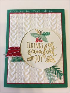 by Terri: Christmas Pines Bundle, Peace This Christmas, Presents & Pinecones washi tape, Cable Knit embossing folder - all from Stampin' Up!