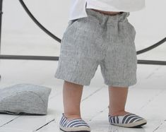 Baby boy shorts Toddler boys pants Linen shorts Ivory Linen pants Boys trousers Summer pants Boys clothes Diaper cover Ring bearer shorts