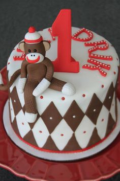 Sock monkey cake I would love to make this for Maggies 1st