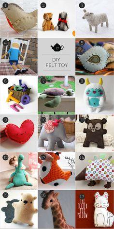 Lovely DIY felt toys // Hermosos muñecos de fieltro para hacer tú mismo