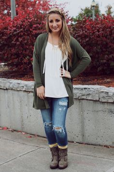 Olive Drawstring Waist Cardigan – UOIOnline.com: Women's Clothing Boutique