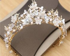 Gold Wedding Jewelry, Rhinestone Wedding, Bridal Jewelry, Bridal Crown, Bridal Tiara, Pearl Bridal, Flower Tiara, Princess Jewelry, Gold Tiara