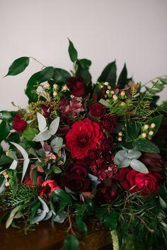 A Romantic Autumn Red Bridal Bouquet