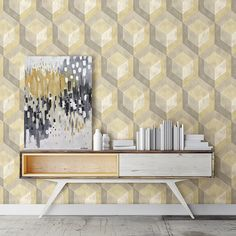 This honeycomb geometric wallpaper is the perfect way to add a mid century modern style to your decor.
