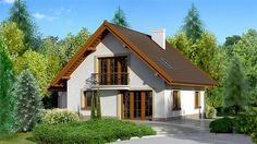 Projekt Dom przy Cyprysowej 10 130,37 m2 - koszt budowy - EXTRADOM Beautiful Small Homes, Modern House Facades, Facade House, Home Fashion, Building Design, Home Projects, My House, House Plans, Dom