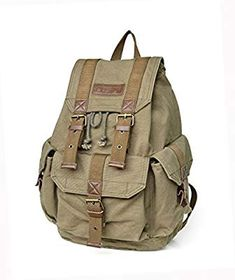 71fe11e5d8 Amazon.com   Gootium 21101 Specially High Density Thick Canvas Backpack  Rucksack   Sports   Outdoors