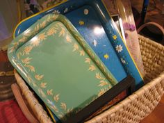 Mismatched vintage sandwich trays.