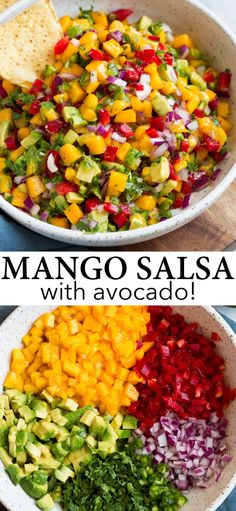 Mexican Food Recipes, Vegan Recipes, Cooking Recipes, Mango Salsa Recipes, Salsa Rice Recipe, Mango Avacado Salsa, Avacado Dip, Healthy Snacks, Healthy Eating