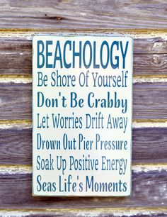 Beach Sign Beachology Unique Beach Theme Wedding Decor Custom Nautical Wooden Plaque Rules Wisdom Lessons Advice Ocean Sea Wall Art Gift - The Sign Shoppe - 2