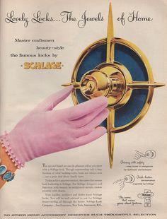 Schlage, I love mid century modern handles / knobs! Mid Century Art, Mid Century Decor, Mid Century House, Mid Century Style, Vintage Advertisements, Vintage Ads, Vintage Posters, Retro Advertising, House Design Photos